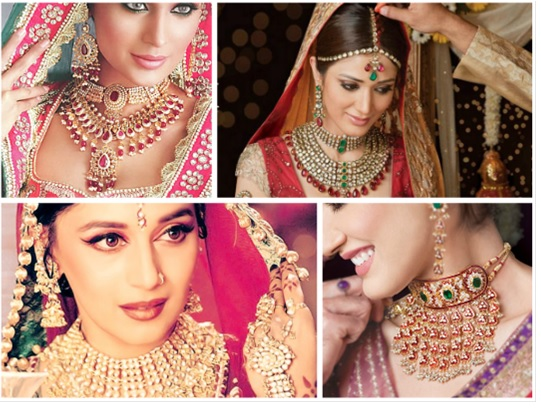 Indian Celebrities wearing wedding jewellery.