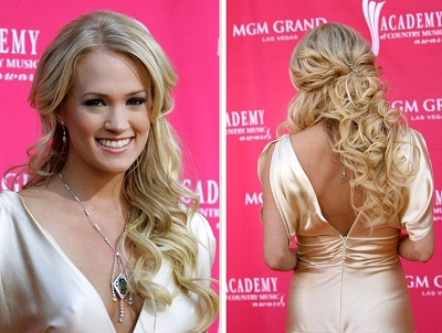 Curly Hairstyles Half Up Down To The Side