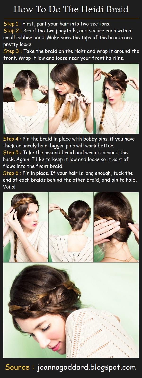 How To Do The Heidi Braids Step By Step Hairstylescut How To Braid Hair  Near Forehead