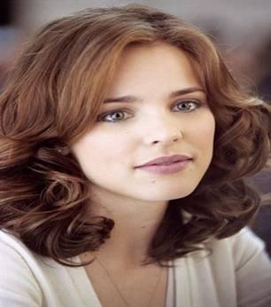 Medium Layered Caramel Brown Color Hairstyle ...