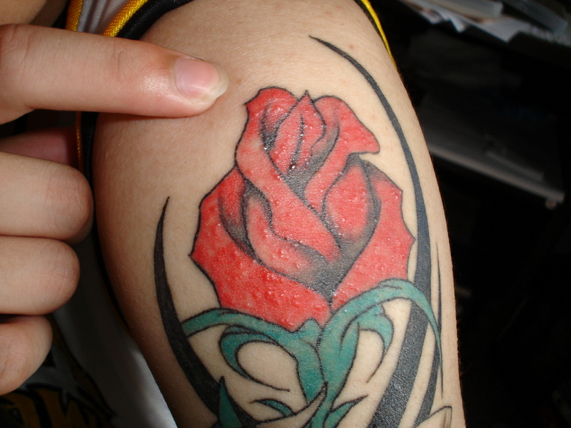 Rose and tribal tattoos designs pictures 1